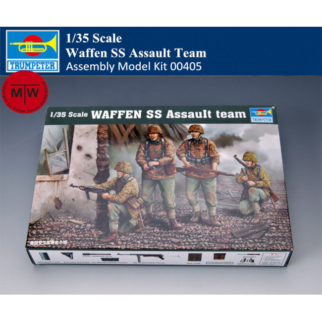 Trumpeter 00405 1/35 Scale German Waffen SS Assault Team Soldier Figures Military Plastic Assembly Model Kits