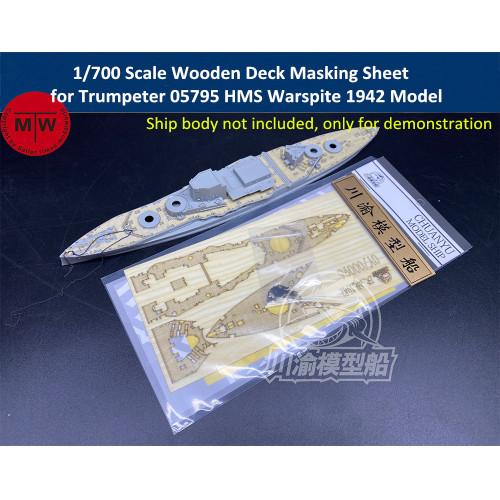 1/700 Scale Wooden Deck Masking Sheet for Trumpeter 05795 HMS Warspite 1942 Model Ship CY700096