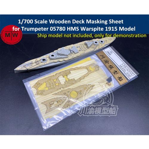 1/700 Scale Wooden Deck Masking Sheet for Trumpeter 05780 HMS Warspite 1915 Model Ship CY700094
