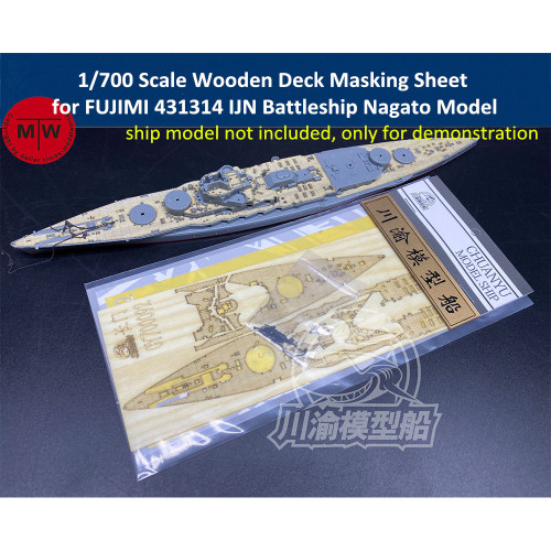 1/700 Scale Wooden Deck Masking Sheet for FUJIMI 431314 IJN Battleship Nagato Model CY700092