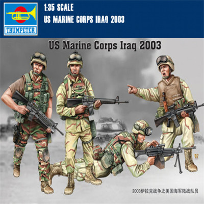 Trumpeter 00407 1/35 Scale US Marine Corps Iraq 2003 Soldier Figures Military Plastic Assembly Model Kits