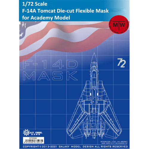Galaxy D72008 1/72 Scale F-14A Tomcat Die-cut Flexible Mask for Academy Model