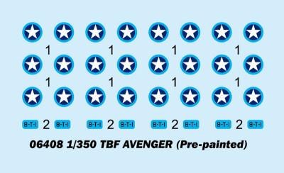 Trumpeter 06408 1/350 Scale TBF Avenger Pre-painted Aircraft Model Set 4pcs/set