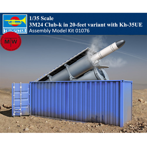 Trumpeter 01076 1/35 Scale 3M24 Club-k in 20-feet variant with Kh-35UE Military Plastic Assembly Model Kit