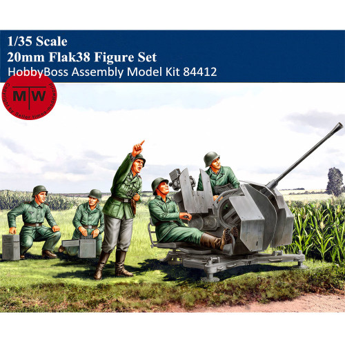 HobbyBoss 84412 1/35 Scale 20mm Flak38 Figure Set Military Plastic Soldiers Assembly Model Kits