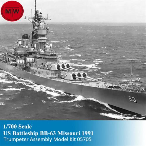 Trumpeter 05705 1/700 Scale US BB-63 Missouri Battleship 1991 Static Warship Military Plastic Assembly Model Kits