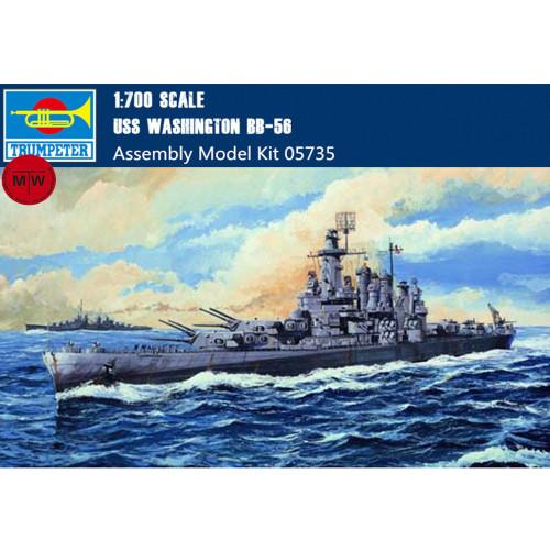 Trumpeter 05735 1/700 Scale USS Washington Battleship BB-56 Military Plastic Assembly Model Kits