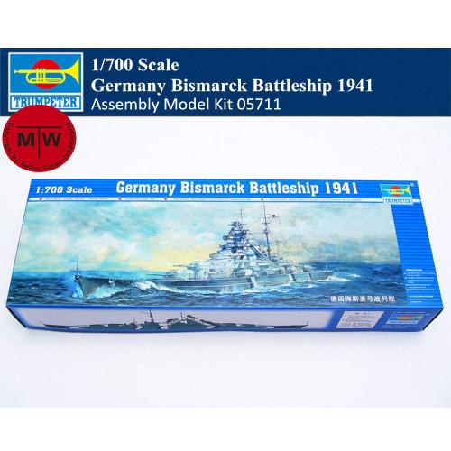 Trumpeter 05711 1/700 Scale Germany Bismarck Battleship 1941 Military Plastic Assembly Model Kit