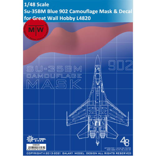 Galaxy D48020 1/48 Scale Sukhoi Su-35BM Blue 902 Camouflage Flexible Mask & Decal for Great Wall Hobby L4820 Model