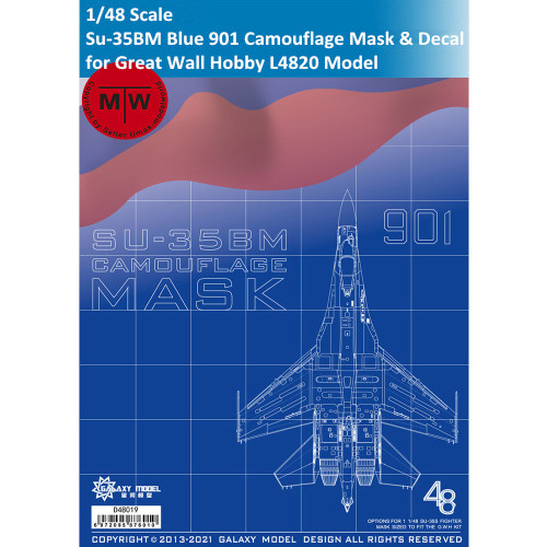 Galaxy D48019 1/48 Scale Sukhoi Su-35BM Blue 901 Camouflage Flexible Mask & Decal for Great Wall Hobby L4820 Model