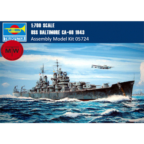 Trumpeter 05724 1/700 Scale USS Baltimore CA-68 1943 Cruiser Static Warship Military Plastic Assembly Model Kit WOWS