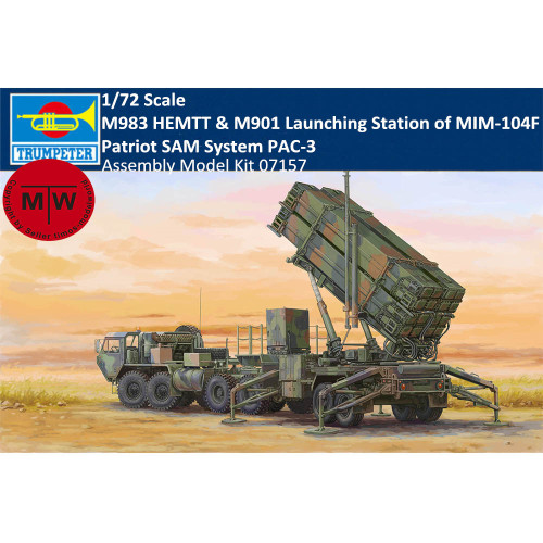 Trumpeter 07157 1/72 Scale M983 HEMTT & M901 Launching Station of MIM-104F Patriot SAM System PAC-3 Plastic Assembly Model