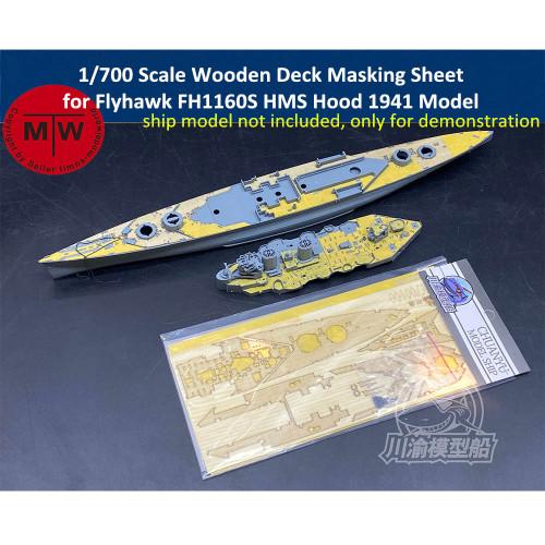 1/700 Scale Wooden Deck Masking Sheet for Flyhawk FH1160S HMS Hood 1941 Model Kit CY700100