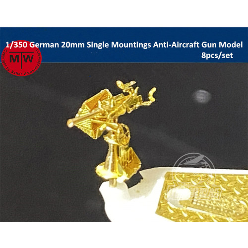 1/350 Scale German 20mm Single/Double/Quadruple Mountings Anti-Aircraft Gun Assembly Model 8pcs/set