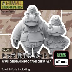 Korea ZLPLA Genuine 1/35 Scale Resin Figure Animal Troopers WWII German Tank Hippo Crew Set A Q Editon Assembly Model AT-003