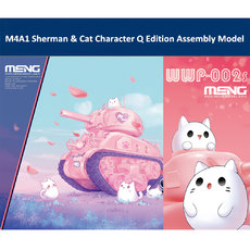 Meng WWP-002s M4A1 Sherman & Cat Character Q Edition Plastic Assembly Model Kit