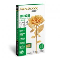 Piececool 3D Metal Puzzle Romantic Rose Assembly Model Kit Gift DIY 3D Laser Cut Toy Gold P099-G
