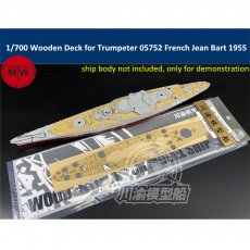 1/700 Scale Wooden Deck for Trumpeter 05752 French Battleship Jean Bart 1955 Model Kit TMW00060
