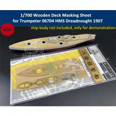 1/700 Scale Wooden Deck Masking Sheet for Trumpeter 06704 HMS Dreadnought 1907 Model TMW00069