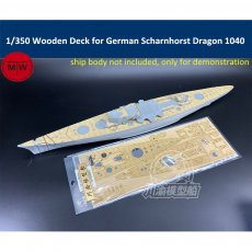 1/350 Scale Wooden Deck for German Scharnhorst 1943 Dragon 1040 Battleship Model TMW00072