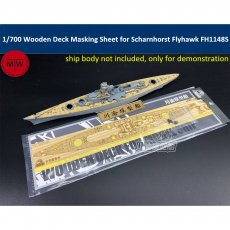 1/700 Scale Wooden Deck Masking Sheet for German Battleship Scharnhorst 1943 Flyhawk FH1148S Model TMW00080