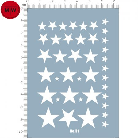 US Army Star Decals for Different Dcales Model Kits (White) 31
