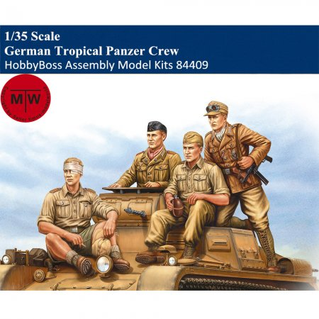 HobbyBoss 84409 1/35 Scale German Tropical Panzer Crew Soldier Figures Military Plastic Assembly Model Kits