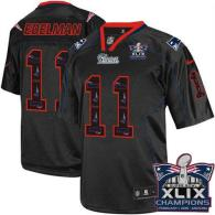 Nike New England Patriots -11 Julian Edelman New Lights Out Black Super Bowl XLIX Champions Patch Me