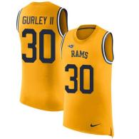 Nike Rams -30 Todd Gurley II Gold Stitched NFL Limited Rush Tank Top Jersey
