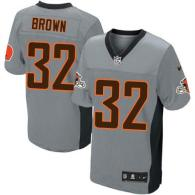 Nike Cleveland Browns -32 Jim Brown Grey Shadow Men's Stitched NFL Elite Jersey