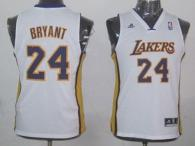 Los Angeles Lakers #24 Kobe Bryant White Champion Patch Stitched Youth NBA Jersey