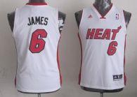 Miami Heat #6 LeBron James White Stitched Youth NBA Jersey