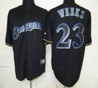 Milwaukee Brewers -23 Rickie Weeks Black Fashion Stitched MLB Jersey