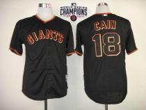 San Francisco Giants #18 Matt Cain Black W 2014 World Series Champions Patch Stitched MLB Jersey