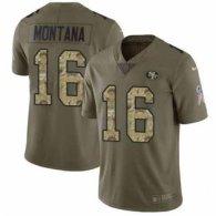 Nike 49ers -16 Joe Montana Olive Camo Stitched NFL Limited 2017 Salute To Service Jersey