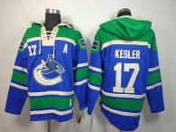 Vancouver Canucks -17 Ryan Kesler Blue Sawyer Hooded Sweatshirt Stitched NHL Jersey