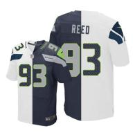 Nike Seahawks -93 Jarran Reed White Steel Blue Stitched NFL Elite Split Jersey