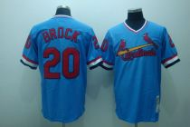 Mitchell and Ness St Louis Cardinals #20 Lou Brock Stitched Blue Throwback MLB Jersey