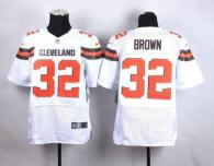 Nike Cleveland Browns -32 Jim Brown White Men's Stitched NFL New Elite Jersey