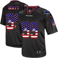 Nike Houston Texans #99 J J Watt Black Men's Stitched NFL Elite USA Flag Fashion Jersey