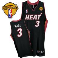 Miami Heat Finals Patch #3 Dwyane Wade Black Stitched Youth NBA Jersey