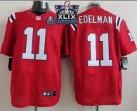 Nike New England Patriots -11 Julian Edelman Red Alternate Super Bowl XLIX Champions Patch Mens Stit
