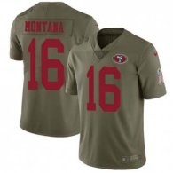 Nike 49ers -16 Joe Montana Olive Stitched NFL Limited 2017 Salute to Service Jersey