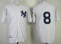 Mitchell and Ness 1951 New York Yankees -8 Yogi Berra Stitched White Throwback MLB Jersey