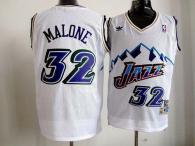 Utah Jazz -32 Karl Malone White Throwback Stitched NBA Jersey