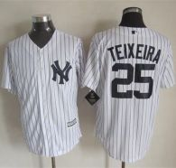 New York Yankees -25 Mark Teixeira White Strip New Cool Base Stitched MLB Jersey