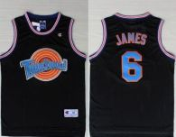 Space Jam Tune Squad -6 James Black Stitched Basketball Jersey