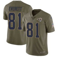 Nike Rams -81 Gerald Everett Olive Stitched NFL Limited 2017 Salute to Service Jersey