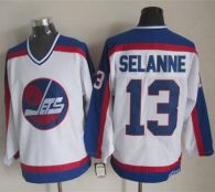 Winnipeg Jets -13 Teemu Selanne White Blue CCM Throwback Stitched NHL Jersey