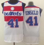 Washington Wizards -41 Wes Unseld White Bullets Throwback Stitched NBA Jersey